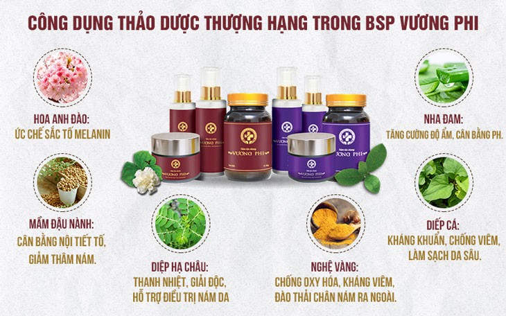 Một số công dụng của các loại thảo dược có trong Nám da tàn nhang Vương Phi.