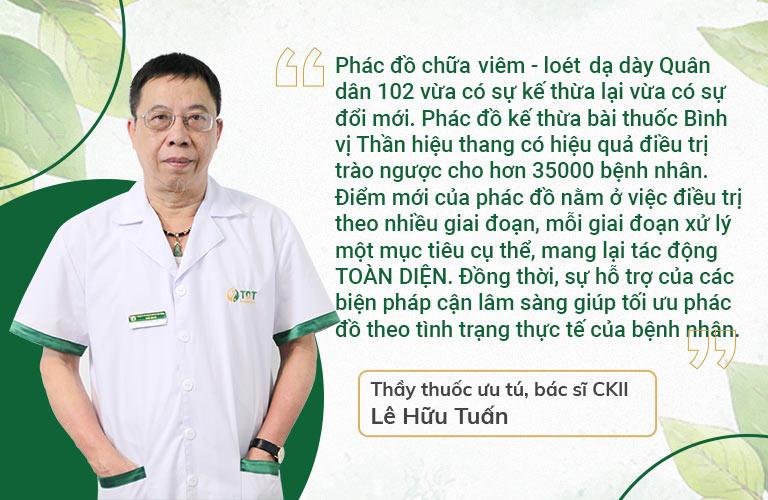 Thầy thuốc, BSCKII Lê Hữu Tuấn đánh giá cao phác đồ Bình vị Thần hiệu thang chữa bệnh dày