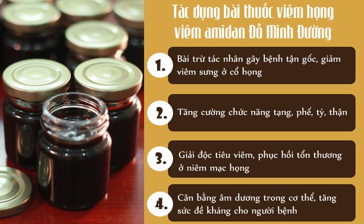 Tác dụng bài thuốc viêm họng, viêm amidan Đỗ Minh Đường