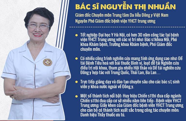 Bác sĩ Nguyễn Thị Nhuần, nguyên Phó Giám đốc chuyên môn kiêm Trưởng khoa Khám bệnh - Bệnh viện Y học cổ truyền Trung ương