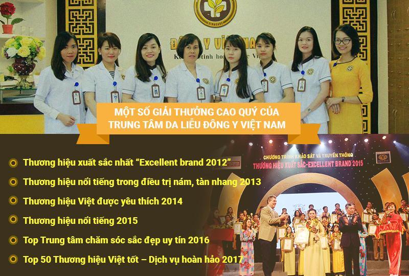 Các giải thưởng của Trung tâm Da liễu Đông y Việt Nam
