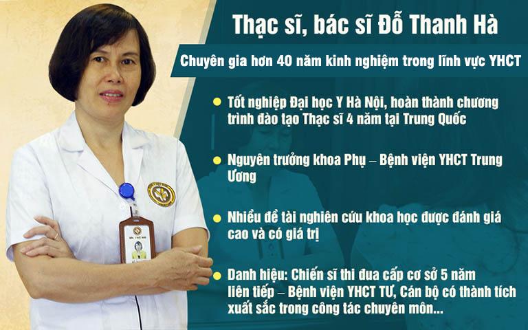 Bác sĩ Đỗ Thanh Hà đã có nhiều năm làm việc trong lĩnh vực Sản phụ khoa Đông y và được nhiều bệnh nhân biết đến