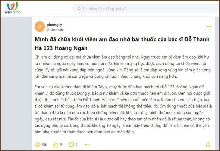 Cộng đồng webtretho đánh giá về bài thuốc của bác sĩ Thanh Hà