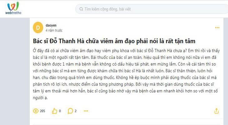 Cộng đồng webtretho đánh giá về cái tâm của bác sĩ Hà