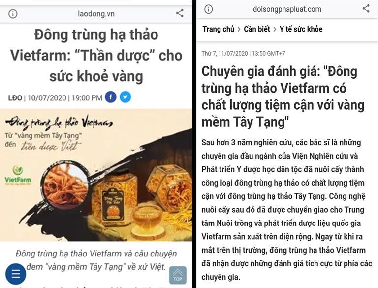 Nhiều thời báo uy tín đưa tin chất lượng của đông trùng hạ thảo Vietfarm tiệm cận với đông trùng hạ thảo Tây Tạng, khẳng định uy tín của thương hiệu Vietfarm