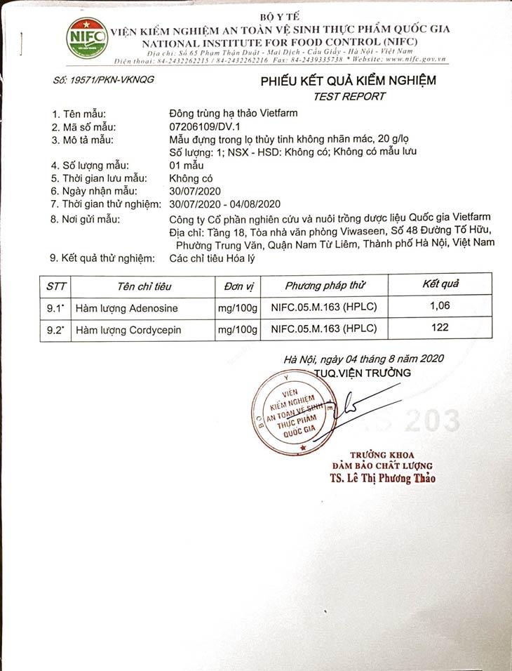 Phiếu kiểm nghiệm Đông trùng hạ thảo Vietfarm do Bộ Y tế cấp