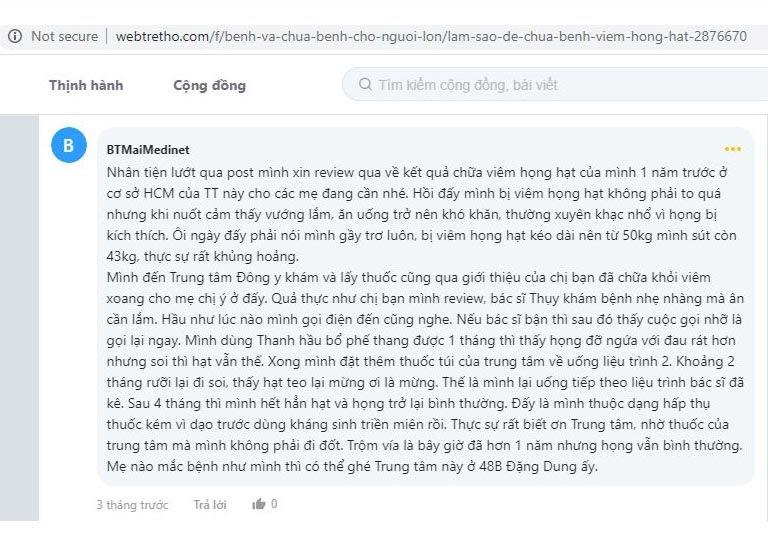 Feedback Thanh Hầu chữa vêm họng mãn tính trên webtretho