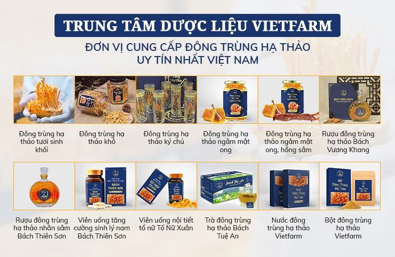 Trọn bộ các sản phẩm đông trùng hạ thảo cao cấp Vietfarm
