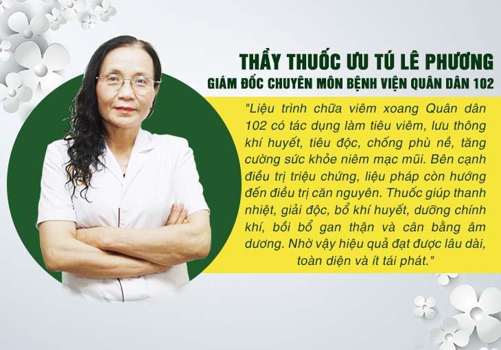 Bác sĩ Lê Phương nói về liệu pháp chữa viêm xoang Quân dân 102