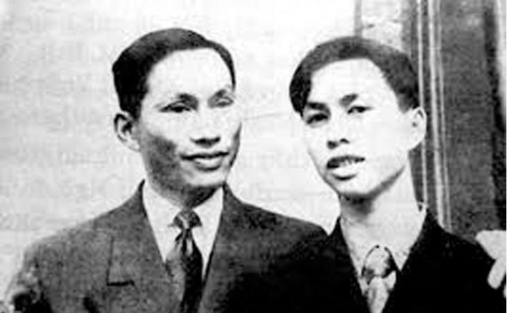 Chân dung giáo sư Đặng Văn Ngữ chụp cùng con trai.