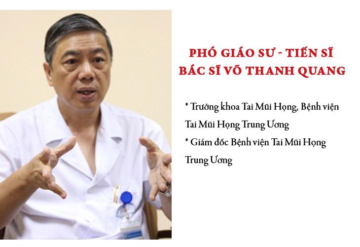 Bác sĩ Võ Thanh Quang là một trong những chuyên gia nổi tiếng mát tay trong chữa bệnh viêm xoang