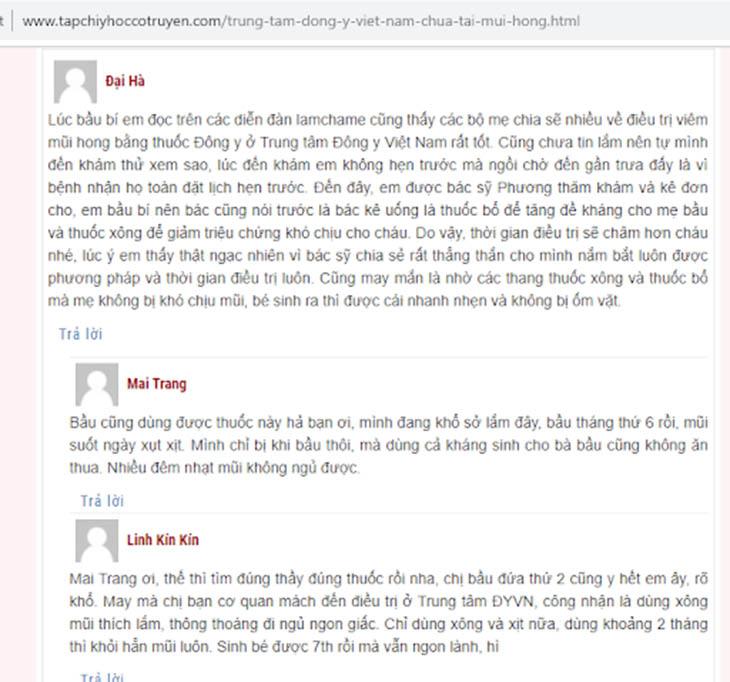 Người bệnh chia sẻ về bài thuốc nam chữa viêm xoang của Trung tâm Đông y Việt Nam