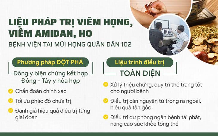 Chữa viêm amidan tại Bệnh viện Tai Mũi Họng Quân dân 102
