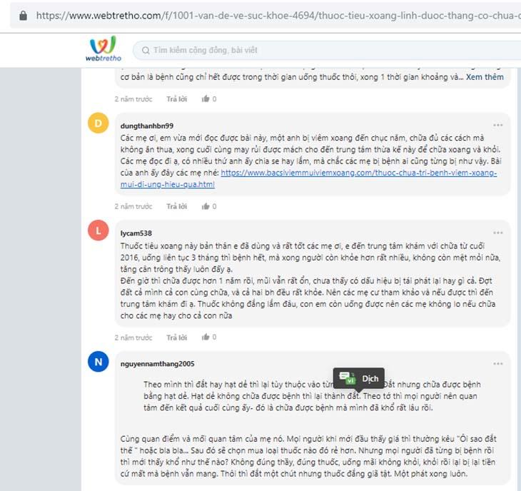 Người bệnh chia sẻ về bài thuốc chữa viêm xoang trên webtretho