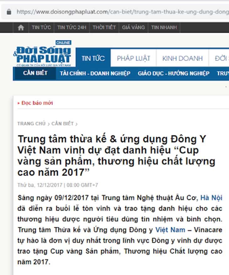 Trung tâm Đông y Việt Nam được Tạp chí Sở hữu Trí tuệ và Sáng Tạo vinh danh