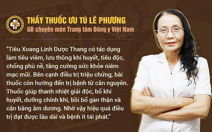 Bác sĩ Lê Phương chia sẻ về nguyên tắc xử lý viêm xoang của Tiêu Xoang Linh Dược Thang