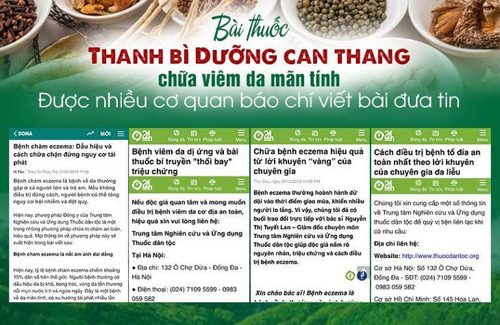 Soha.vn, 24h.com đánh giá cao hiệu quả của Thanh bì Dưỡng can thang