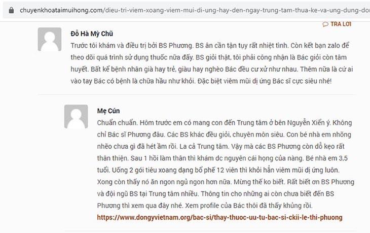 Bệnh nhân chia sẻ về bác sĩ Lê Phương
