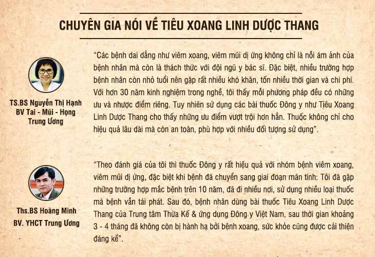 Một số đánh giá của chuyên gia về bài thuốc Tiêu Xoang Linh Dược Thang trị viêm xoang