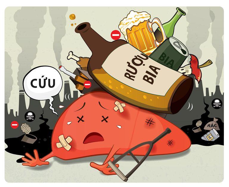 Uống nhiều rượu bia (chứa nhiều chất kích thích) cũng gây ra bệnh viêm đại tràng sigma