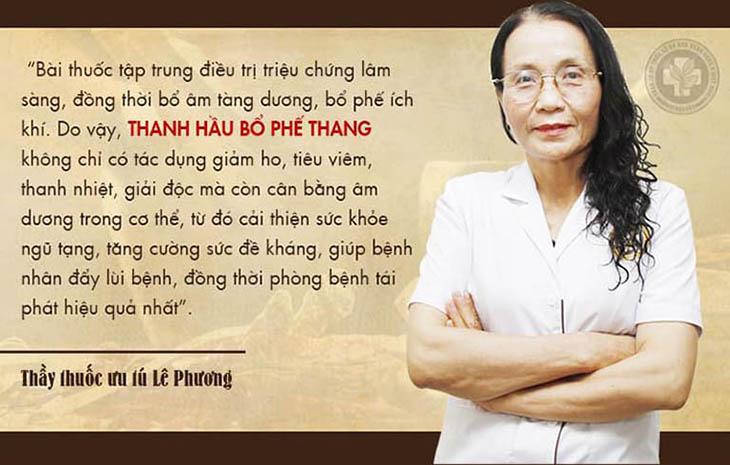 Bác sĩ Lê Phương nhận xét về Thanh hầu bổ phế thang