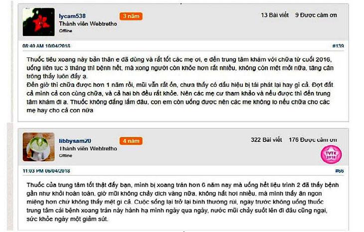 Phản hồi của bệnh nhân về công dụng của Tiêu Xoang Linh Dược Thang trên webtretho
