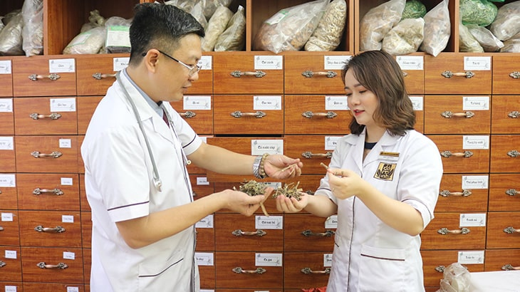 Lương y Đỗ Minh Tuấn cùng bác sĩ Ngô Thị Hằng nghiên cứu, tối ưu bài thuốc