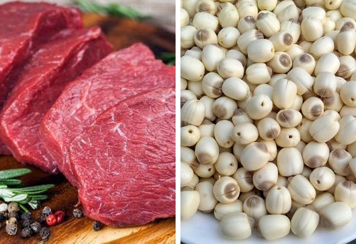 Thịt bò hầm với hạt sen tăng cường sức khỏe và hệ miễn dịch cơ thể