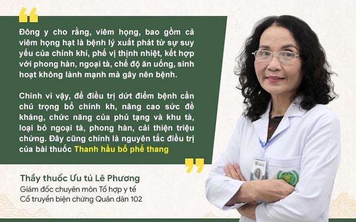 Bác sĩ Phương nói về cơ chế hoạt động của Thanh hầu bổ phế thang