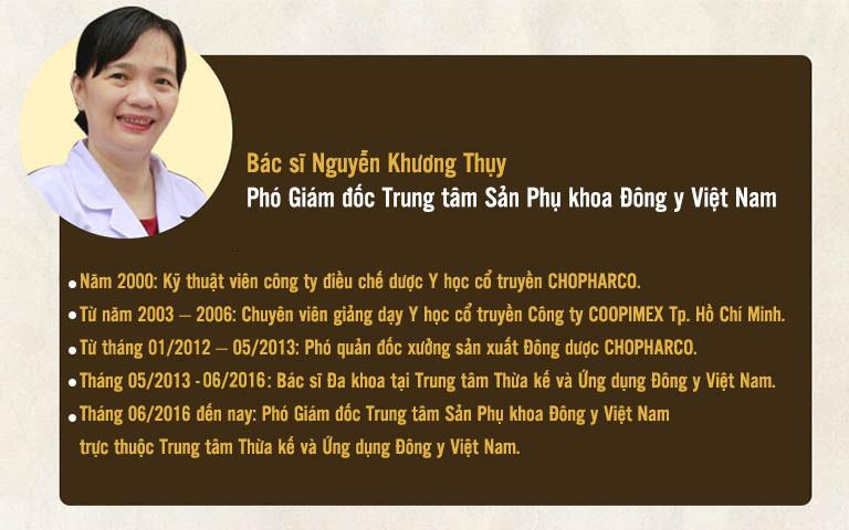 Quá trình học tập và công tác của Bác sĩ Nguyễn Khương Thụy