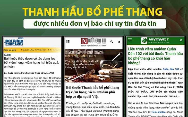 Báo chí đưa tin về bài thuốc Thanh hầu bổ phế thang