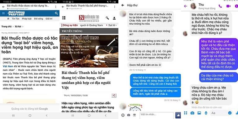 Báo chí và người bệnh chia sẻ về Thanh hầu bổ phế thang