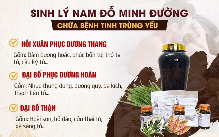 Thành phần của bộ 3 sản phẩm trong bài thuốc Sinh lý nam Đỗ Minh