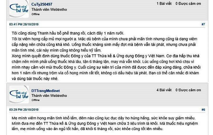 Phản hồi của người bệnh về bài thuốc trị viêm họng Thanh hầu bổ phế thang trên webtretho
