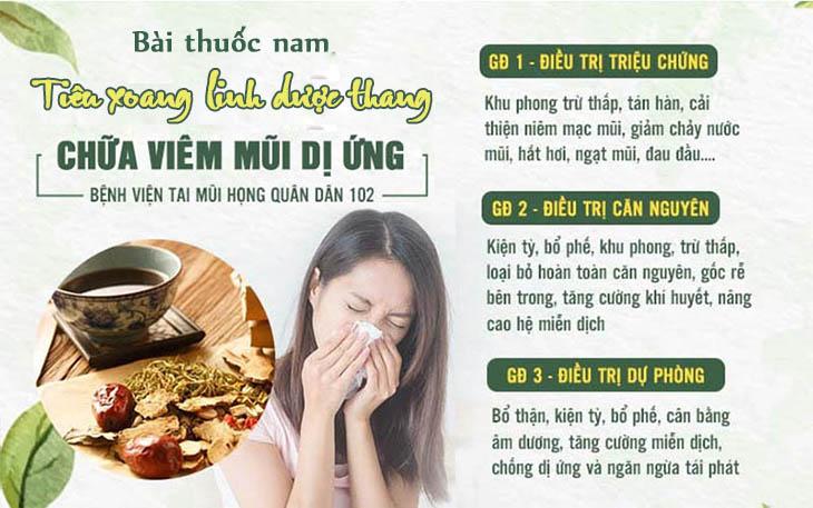 Phác đồ điều trị viêm mũi dị ứng bằng Tiêu xoang linh dược thang - bệnh viện Tai Mũi Họng Quân dân 102