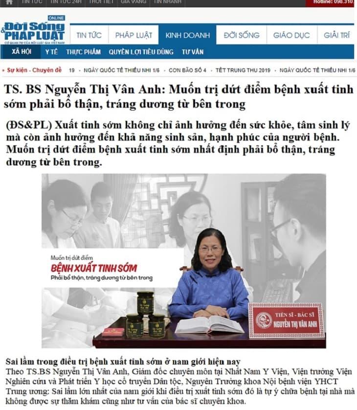 TS.BS Nguyễn Thị Vân Anh đánh giá cao bài thuốc Uy Long Đại Bổ chữa yếu sinh lý xuất tinh sớm