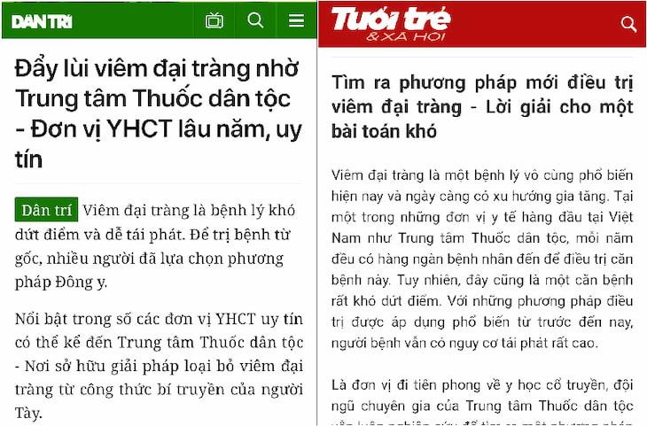 Báo chí nói về Tiêu thực Phục tràng hoàn và Trung tâm Thuốc dân tộc