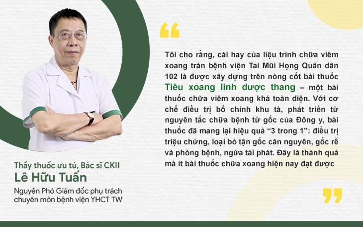 Bác sĩ Lê Hữu Tuấn đánh giá cao Tiêu xoang linh dược thang