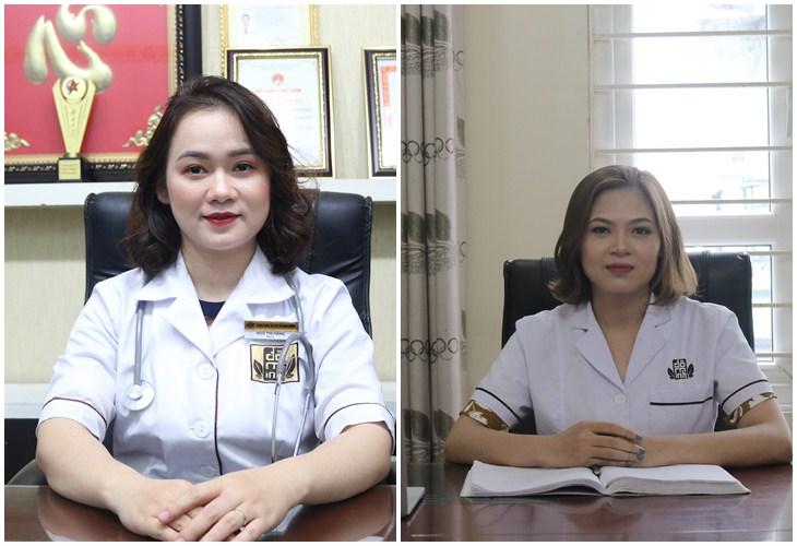 BS Hằng (bên trái) và BS Oanh (bên phải) hiện đang làm việc tại nhà thuốc Đỗ Minh Đường, cơ sở miền Bắc