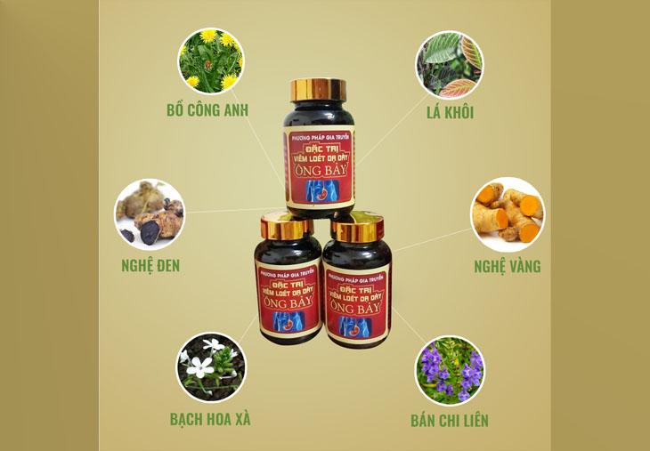 Thuốc dạ dày Ông Bảy được sản xuất từ nguồn dược liệu tự nhiên chất lượng, có nguồn gốc rõ ràng