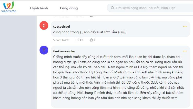 Bài thuốc UY Long Đại Bổ được phản hồi tích cực trên webtretho