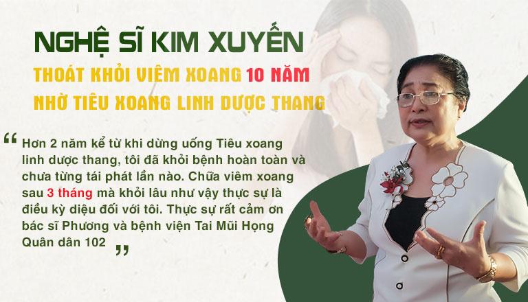 Nghệ sĩ Kim Xuyến chữa khỏi viêm xoang mãn tính nhờ Tiêu xoang linh dược thang