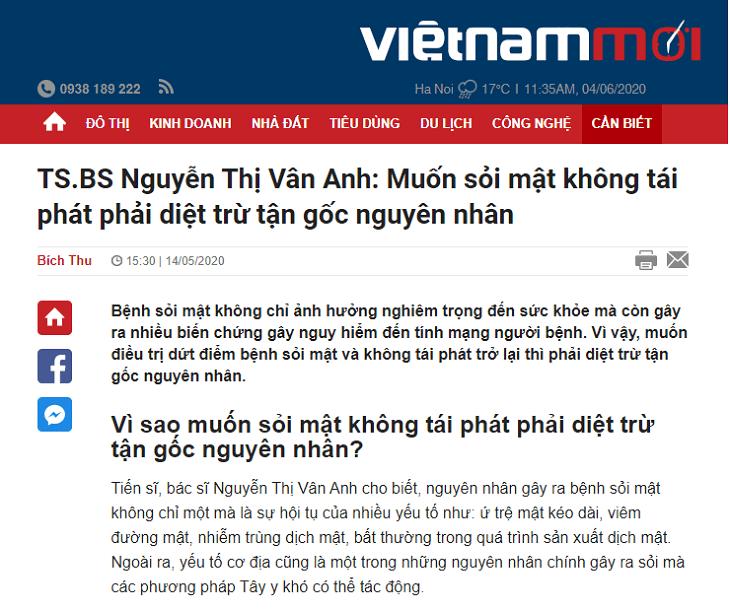 Báo Việt Nam Mới đưa tin về bài thuốc Nhất Nam Tiêu Thạch Khang đặc trị sỏi mật