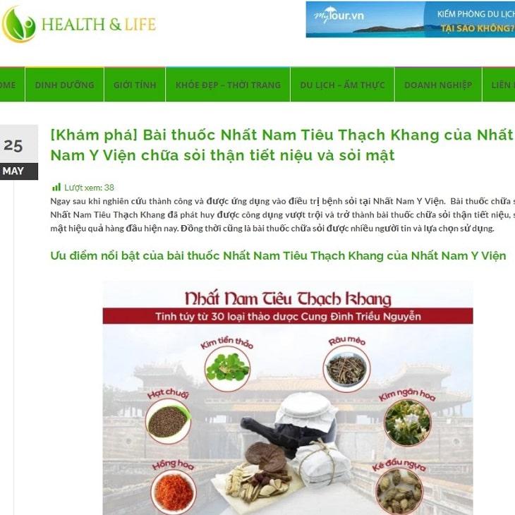 Trang tin Health & Life đưa tin về bài thuốc Nhất Nam Tiêu Thạch Khang đặc trị sỏi mật