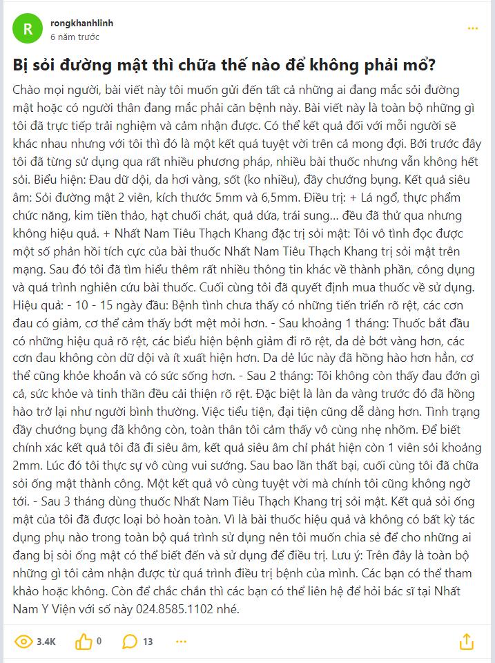 Review bài thuốc Nhất Nam Tiêu Thạch Khang chữa sỏi mật trên diễn đàn webtretho