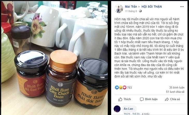 Phản hồi của khách hàng sau khi điều trị sỏi mật bằng Nhất Nam Tiêu Thạch Khang