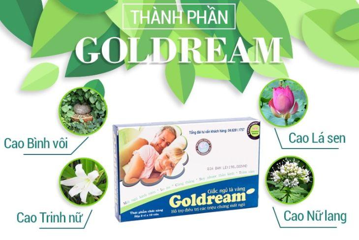 Thuốc trị mất ngủ Goldream có nhiều thành phần từ thiên nhiên