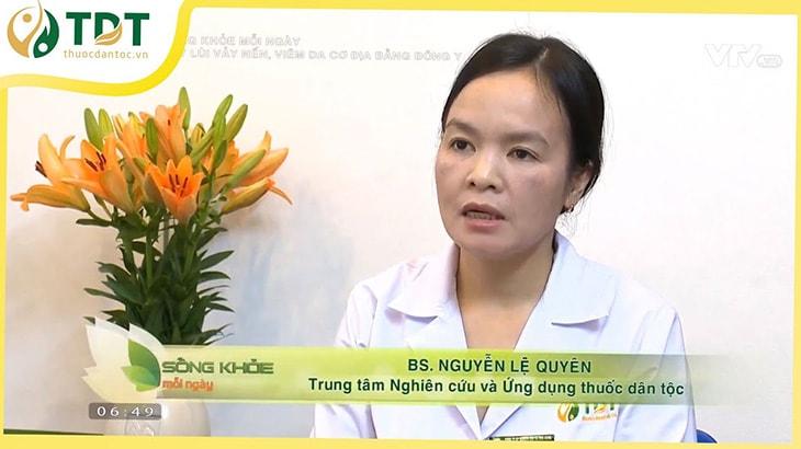 Bác sĩ Lệ Quyên từng xuất hiện trên VTV2 tư vấn về bệnh vảy nến