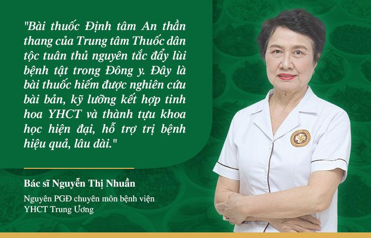 Bác sĩ Nguyễn Thị Nhuần dành nhiều lời khen cho bài thuốc Định tâm An thần thang