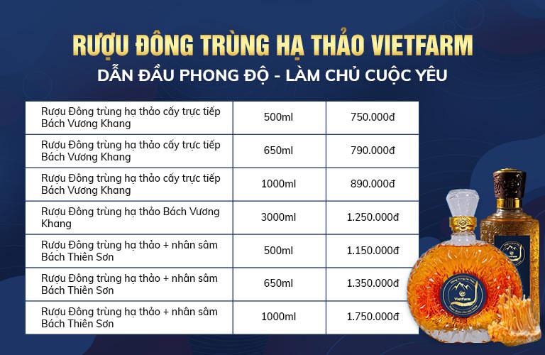 Bảng giá và các sản phẩm rượu đông trùng hạ thảo của Vietfarm